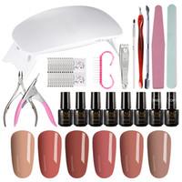 Kit de herramientas de manicura MIZHSE 19Pcs / Lot Pro Nail Art Tools Set 6W Nature Led Lámpara UV Kit de secador de uñas 6 colores Gel diy diseño