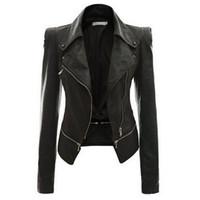 Rosetic gótico do punk pu jaqueta de couro magro preto zíper lapela colar de rua do motor fresco outono quente plus size fit goth outwears