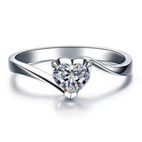 925 Anel coração da prata esterlina CZ cristal Mulheres Cubic Zirconia S925 Banda de casamento anel de noivado Presentes Feminino