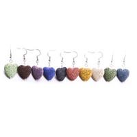 10 Cores 20mm Coração Amor Lava Pedra Oscila Brincos Óleo Essencial Difusor Brincos de Pedra Vulcânica para As Mulheres de Jóias