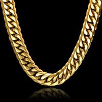 Gümüş / Altın Zincirler Kolye Hip Hop Takı Küba Link Zinciri NecklacesPendants erkek Takı Paslanmaz Çelik Takı Istakoz Pençe Toka