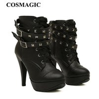 New Women Black Ankle Boots Motorcycle Thin High Heel Double...