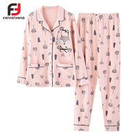 Pyjamas Sets Frauen Cartoon Baumwolle Soft Homewear Rosa Cardigan Button Home Anzug Top + Hosen Elastische Taille Bordered Pyjamas M-3XL
