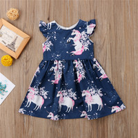 2018 Toddler Clothes Baby Girl Dresses Round Neck Floral Uni...