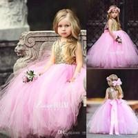 핑크 골드 스팽글 꽃 여자 드레스 얇은 명주 그물 티에가있는 스커트 활 민소매 보석 아이 공주 생일 파티 미인 가운