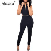 Abasona Black Women Jumpsuits Rompers Summer Sleeveless Back...