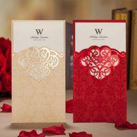 Tarjetas de invitaciones de boda Oro rojo Invitación de boda personalizada Imprimible Invitaciones de boda Tarjeta Tarjetas de invitación leales huecas