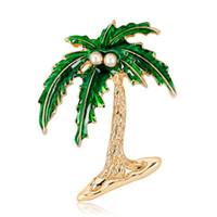 Green Leaf Coconut Tree Brooch Peal Coconut Metal Plant Shaped Vintage Spilla Party Matrimoni Banchetto Spilla Regali