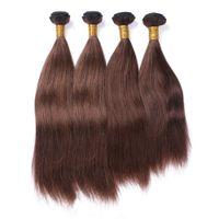 Brasiliano Marrone estensioni dei capelli umani doppio Wefted 4 pezzi diritta serica # 4 color cioccolato Virgin capelli umani di Remy del tessuto Bundles