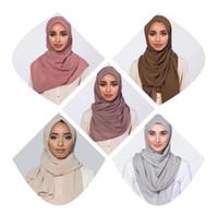 78 Farben Muslimische Frauen Hijab Schals 2018 Verkauf Hochwertiger Festfarbe Ethnische Perle Chiffon Blase Schal 12 Stück