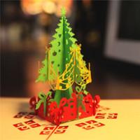 3D Noel Ağacı Hediyeler Tebrik kartı kartpostal Merry Xmas Pop up kart tatil çocuk hediye Mutlu Yeni Yıl
