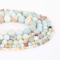 8 millimetri naturale Dull polacco Matte Amazon Stone Beads allentato rotondo Perle per monili che fanno 4/6/8/10 / 12mm 15 '' Bracciale fai da te