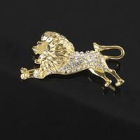 2.7 * 6.0cm Lion Strass Broche Femmes Hommes Strass Animal Costume Épinglette Revers pour Party Banquet avec Expédition Rapide