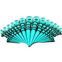 50pcs / set hot 9 colori calibro orecchio acrilico con cono e tappo di stretching kit kit di flesh tunnel espansione corpo piercing gioielli
