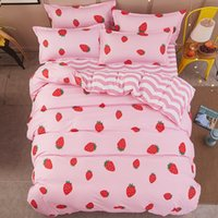 7 Photos Wholesale Dog Print Bed Sheets   New Cartoon Strawberry Panda Dog  Pattern Bedding Sets Bed Cover