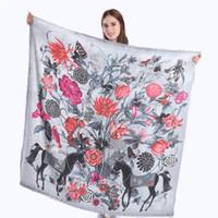 여성 스페인 말 꽃 인쇄 목도리 여성 겨울 패션 스카프를위한 새로운 소프트 캐시미어 울 스퀘어 스카프 랩 파시미나 130 * 130cm