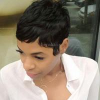 Parrucche per capelli umani pixie corte Parrucche corte per donne afro-americane Rihanna Parrucche per capelli umani frontali in pizzo brasiliano corto per donne nere