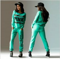INS Hot Casual Tracksuit for Women PINK Letter Printed 2 Col...