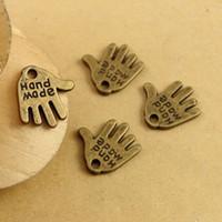 500 unidades / pacote Vintage Bronze handmake Alloy Hand made encantos pingente Com Palavras de Amor Encantos DIY Pulseiras Acessórios