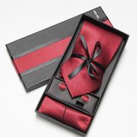패션 와이드 넥타이 남자 넥타이 Hankerchiefs 커프스 단추 수제 선물 상자 선물 목걸이 10 색 세트