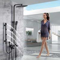 Chuveiro Chrome Coluna Chuva Faucet de Banheiro Conjunto Spa Massagem Jet Chuveiro Sistema Banho Misturador Bidé Sprayer Cabeça