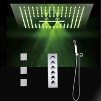 Torneiras de Chuveiro LED Set 400x400mm Multifuncional Showerhead Água Grande Chuva Chuveiro / Termostática de Alta Fluxo Mixer Set