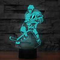 3D Jogador de hóquei Modelando Desk Lamp 7 cores mudam Led Night Light Baby Sleep iluminação Sports Fans Bedroom Decor presentes USB
