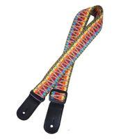 Cinturino per chitarra in pelle intrecciata con motivo di cotone colorato con cinghie in ukulele