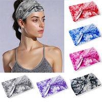 30 Color Tie Dye Boho Large Coton Stretch Femmes Bandeau Fascinator Accessoires de cheveux Turban Headwear Bandage Bandes Bandana Headpiece