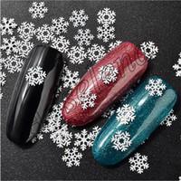 Noel için Yeni Çok boyutlu Nail Art Tırnak Çiviler Sanat Noel kar tanesi Serisi için Çıkartma Çıkartmaları Ultra ince beyaz kar tanesi pullar