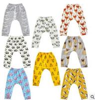 Crianças meninas Roupas Bebê Leggings Calças Animal Impresso Harem Pants Verão Bebê Calças Casuais de Algodão Solto PP Calças Fox Penguin Meias TX09