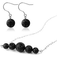 2018 New Lava- rock Round Bead Pendant Earrings & Necklace Je...