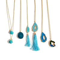 Natural Round Turquoise Ear Of Wheat Necklaces Irregularity Turquoise Hollow Out Pendants Golden Necklace