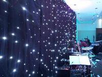 4.6mx7m الأحداث خلفية LED الستار المضاء الستار القماش الأسود + المصابيح البيضاء لحفل زفاف الديكور مع شريط ، ديسكو ، فندق الخ
