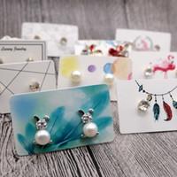 Orecchio 3x5cm multi colore di carta Card Stud Hang Tag Jewelry Display favore Marcatura l'abbigliamento prezzi Label Tag