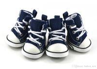 Новое прибытие 4 шт./лот синий щенок собака джинсовая обувь Спорт Повседневная кроссовки противоскользящие сапоги обувь для Chihuahau Бесплатная доставка