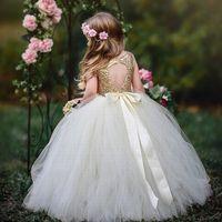 Pageant Kids Clange Golden Sequin Tulle Цветок Девушка Платья для Свадебной Девушки Длина Детей Детская вечеринка Платье Рождения YTZ253