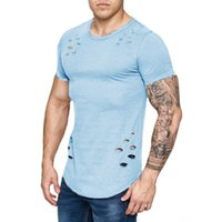 2018 New Men Ripped Solid Color Loose Fit Crew Round Neck T-...