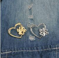 Takı Broş Pins Güzel Hollow Aşk Kalp Tiny Pet Pawprint ile Broş Charm kedi Köpek Ayakizi Yaka Pin Çanta Cüzdan Backpackes Pin
