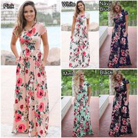 Été Floral Dress Imprimé Long Boho Beach Robes O-cou À Manches Courtes Empire Fleur Vintage Étage-longueur Maxi Sundress Pool Birthday Party