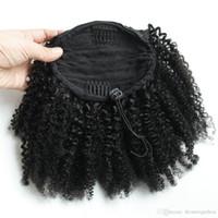 Human Curly rabo de cavalo, Short Elastic Drawstring Rabo-americano Afro Kinky Curly Hair Extension Africano, Puff cabelo rabo de cavalo com clipes