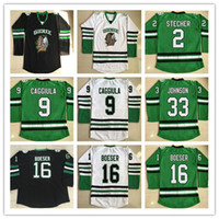 Dakota du Nord Hommes Fighting Sioux College Maillots Hockey 2 STECHER 9 CAGGIULA 16 Brock Boeser 33 Université Cam Johnson Pas Cher