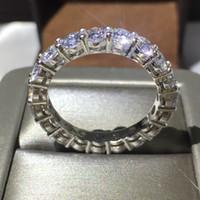 Anel de Noivado de casamento das mulheres 4mm Rodada CZ 925 Sterling Silver 5A Zircão pedra Eternidade Anel Bandas Novas Jóias para As Mulheres