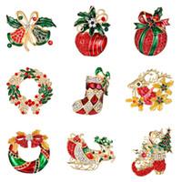 Collection Hiver Broche De Noël Broche Bonhomme De Neige Père Noël Botte Guirlande De Mode Bijoux Cadeau De Noël Décoration Broche
