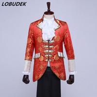 (veste + pantalon + gilet + cravate) Six Costumes de Costumes Européens de Style Européen Hommes Blazers Rouges Spectacle de Scène Show Rétro Mariage Vêtements Costume Drame