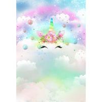 الحلم السحابي قوس قزح يونيكورن تحت عنوان حفلة خلفية التصوير مطبوعة الزهور الوردية الوليد الطفل أطفال صور الخلفيات الاستوديو