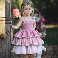 UK USA stil neue Mädchen kleidung Schöne Blume stickerei 3-schicht kuchen rosa kleid backless prinzessin kleid mode mädchen kleid 100% baumwolle