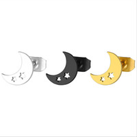 10piars / lot Sportliche Schwarz Gold Dicke Mond Edelstahl Ohrringe Minimalistischen Ohrring Einfache Sterne Ohrstecker Mode Ohrschmuck Für Frauen Mädchen