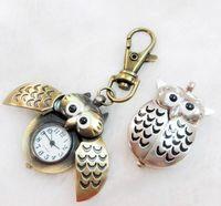Búho reloj de bolsillo collar reloj de cuarzo llavero reloj bronce antiguo collar colgante enviado a174