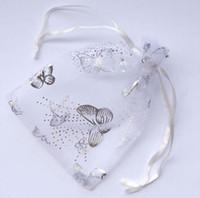 20x30cm 100 uds mariposa blanca de organza de boda joyería Bolsa regalo 70x90 mm banquete de boda del Organza del regalo de la joyería bolsas Bolsas